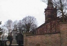 Alphabet Stone, war memorial and St Mary's Church, Prescot