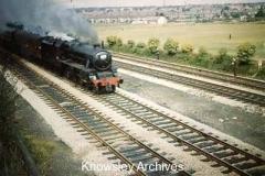 Steam-hauled excursion train near Roby