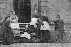Servants and gamekeeper, Halsnead Hall, Whiston